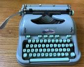 Vintage Seafoam Green Hermes 3000 Portable Typewriter from Switzerland