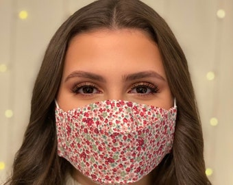 Handmade, Triple Layered, Washable, Reusable Adults & Childrens  Face Mask / Face Covering, Shaped to fit Face Contours,  100% Cotton Fabric
