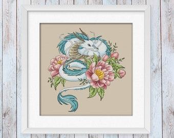 The Spirit of the River Dragon cross stitch pattern Fantasy embroidery kawaii anime manga japan asia fandom cottagecore PDF Instant Download