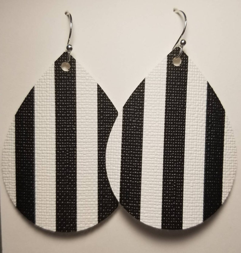 Black and white striped faux leather earrings