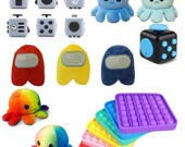4 Pack Fidget Toy octopus Bundle Sale, 4pcs Fidget Toys Bundle Set, Anxiety Toys for Kids and Adults Easter, Among us Fidget Cube