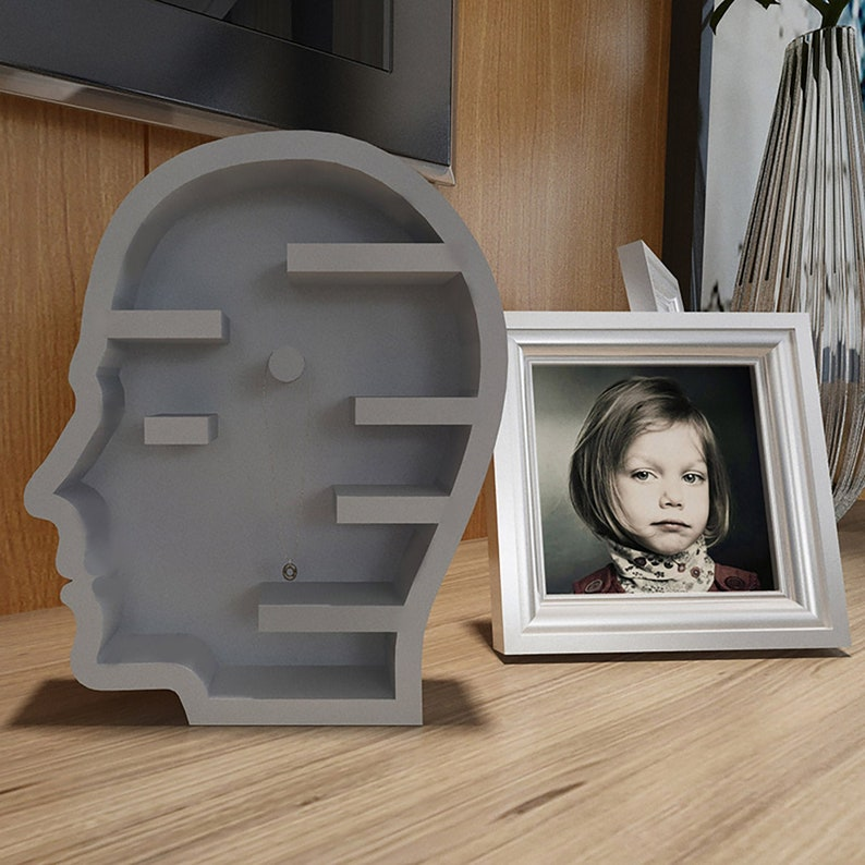 Bookend Mold DIY Home Decor Creative Gifts Jewelry Storage Box Mold Storage Shelf Head Resin Mold Desktop Shelf Mold