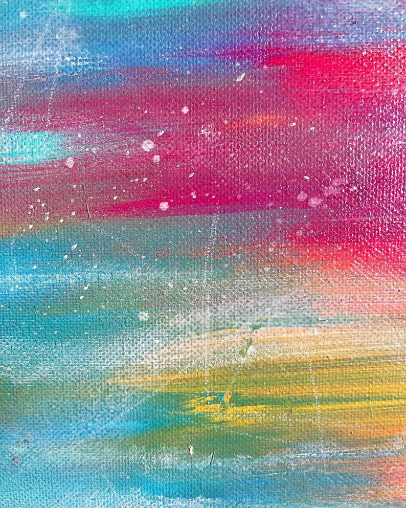 Rainbow Colorful Original Abstract Painting,Contemporary Art,Bedroom Wall Art Pink Artwork,Colorful Art Modern Art
