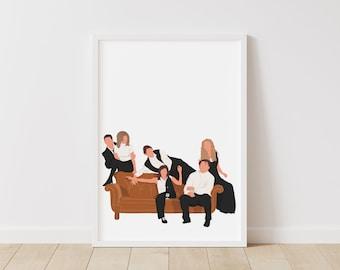 Friends Print – Pop Line Art – Instant Download Illustration – TV Printable Poster