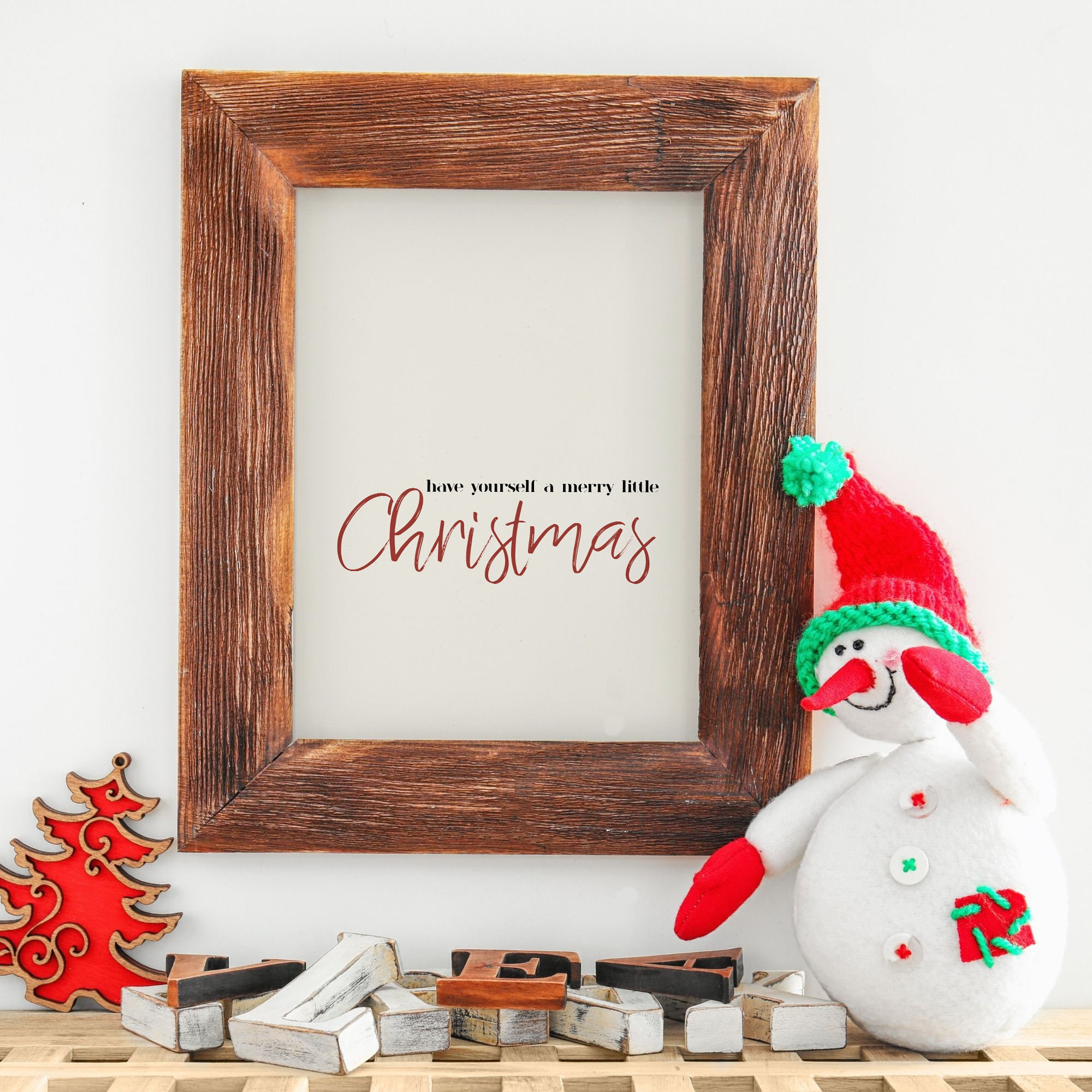 Merry Little Christmas Wall Art Christmas Song Printable Minimal Modern Holiday Art Download