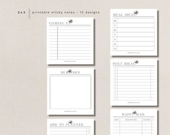 """STICKY NOTES - 12 minimal + functional designs - 3"""" X 3"""" -  printable, digital download"""