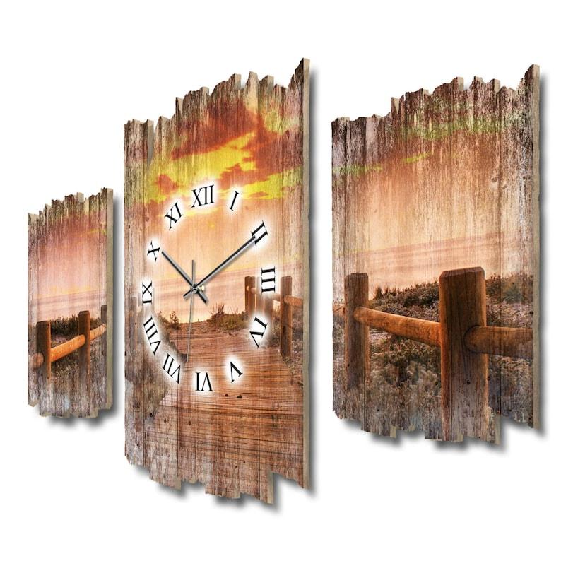 Steg Sunset - France Style Shabby - France L'horloge murale trois pièces électrise. comme une montre de radio ou de quartz tranquille . bois Plume créative