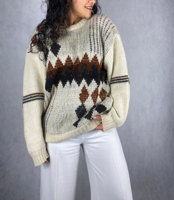 Chunky Vintage Argyle Mohair knitted Jumper Sweate