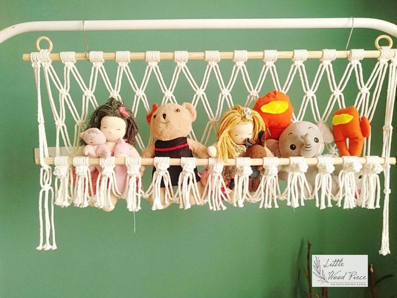 Toy Hammock/ Macrame toy hammock/ Wall hanging stuffed animal image 0