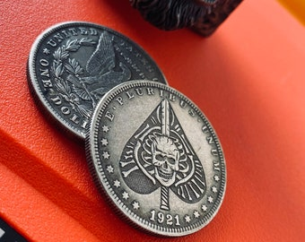 Rust custom stamped coin blue rainbow clip