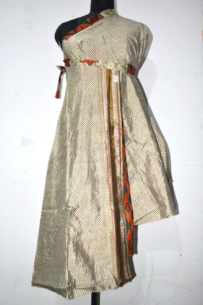 Vintage silk sari long wrap skirt reversible dress women boho hippie dress 62