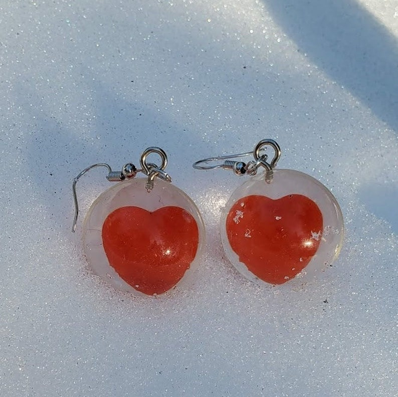 Gifts ready to ship Valentines Day Earrings Heart Bubble Earrings