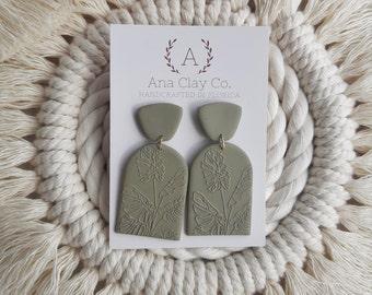 Monsteras- Handmade Clay Earrings