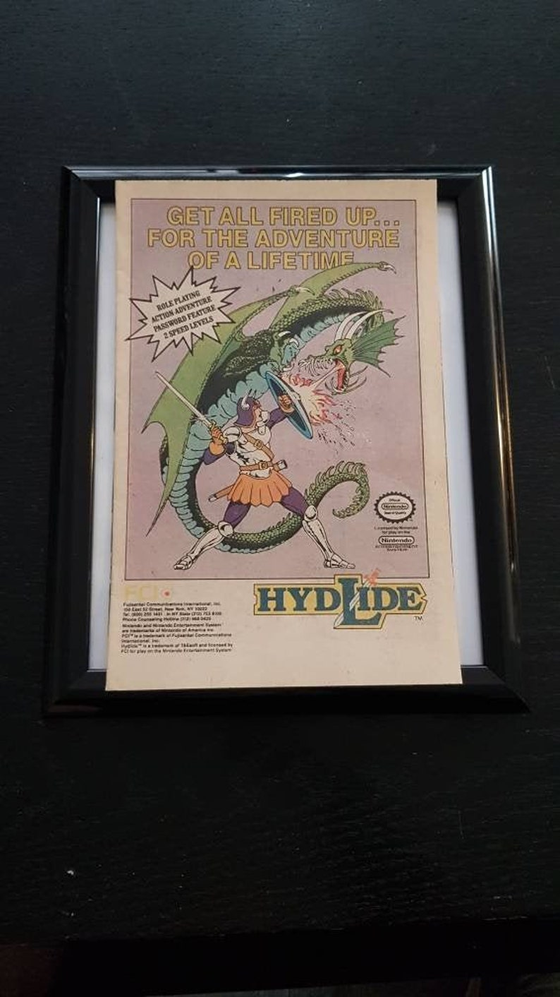 Hydlide Advertisement Poster in Frame
