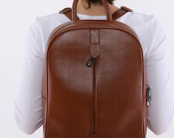Handmade Leather Work Women Backpack, Mini Backpack, Leather Satchel, Laptop Bag, Cowhide Purse, Teacher Cute Small Backpack, Zipper  Bag