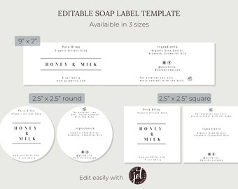 Minimalist Soap Label Set   Editable and Printable Soap Label Wrapper and Label   DIY Bar Soap Packaging for Artisan Soap Business