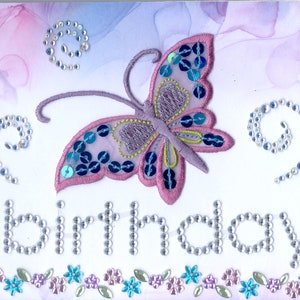 Birthday Greeting Card Elegant pearls satin flower butterfly Handmade one-of-a-kind OOAK Unique 3D 5x7  BD049