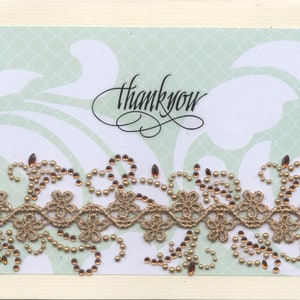 Thank-You Greeting Card Elegant Posh Sequined Embroidered Patch Handmade one-of-a-kind OOAK Unique Dimensional 3D 5x7 TY013