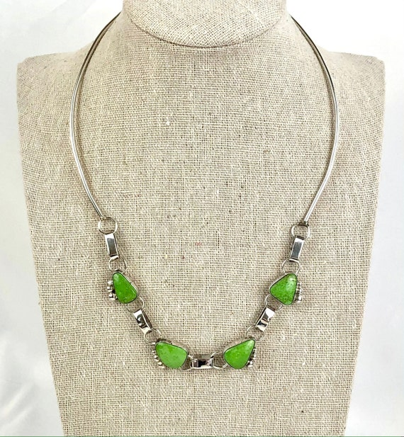 "Rare D/L Garcia Signed Green Gaspeite Sterling Silver Necklace / Native American Navajo Artisan-Signed Necklace / Approximately 18""-Long"