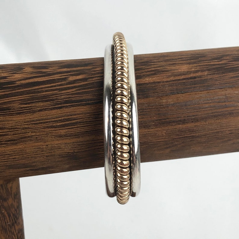 Signed TAHE Navajo Sterling Silver 12K Yellow Gold-Filled Rope Twist Cuff Bracelet  7\u201d-Long 0.40\u201d-Wide Bracelet