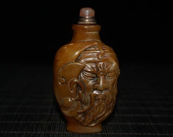 Hand-carved ancient natural Brazil agate snuff bottle  123g
