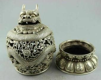 China silver Hand carved Dragon plate Incense Burner Tengyun driving fog Censer