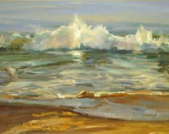 seascape vague oil on canvas signed / seascape wave oil painting on canvas