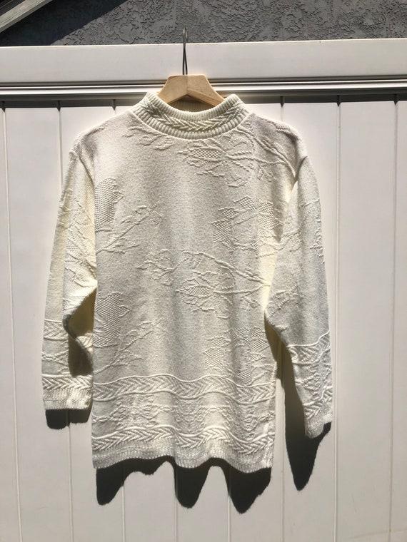 White Vintage Sweater - Mock neck Sweater