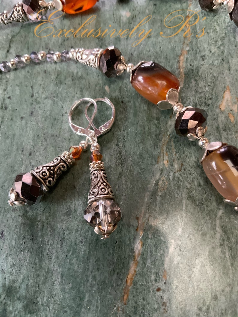 Black and Carmel with Smoky Gray Crystal Necklace and Earring Set Stunning Handcrafted Carnelian Silverplate