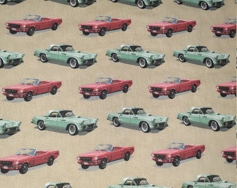 """2003, Mustangs, and Thunderbirds, Ford, Cotton, Flannel, Fabric, Medium weight, 96 """" long by 44"""" wide"""