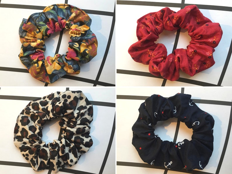 Handmade cotton scrunchies VSCO hair accessories in 40+ prints flowers, animal print, daisy, gingham \u2013 mix /& match pack soft hair ties