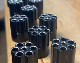 6 chambered billet aluminum anodized black pen holder