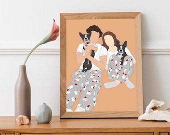Custom portrait, custom drawing, personalized illustration, personalized gift, family portrait, portrait drawing, custom