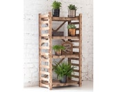 Bookcase Shelving unit Bookshelf Housewarming Gift Toy Storage Wooden Shelves Plant Stand Laser Cut quot LADDER quot (24 quot w 48 quot h) Hexagonica