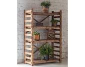 Display Shelf Plant Stand Bookshelf Wooden Shelves Bookcase Housewarming Gift Laser Cut Shelving Unit quot LADDER quot (29.5 quot w 15 quot d) Hexagonica