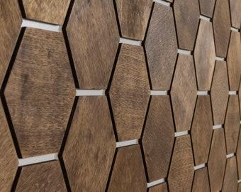 Honeycomb Wood Wall Decor Panels BIRCH Dark 32pcs per set