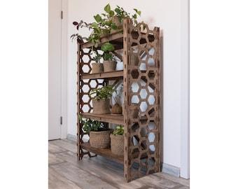 "Bookcase Bookshelf Loft shelf Modular shelving Toy Storage Plant Stand Housewarming Gift Wooden Shelves ""HONEYCOMB"" (29.5""w 15""d) Hexagonica"