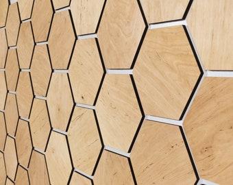 Honeycomb Wood Wall Decor Panels ALDER Light 32pcs per set
