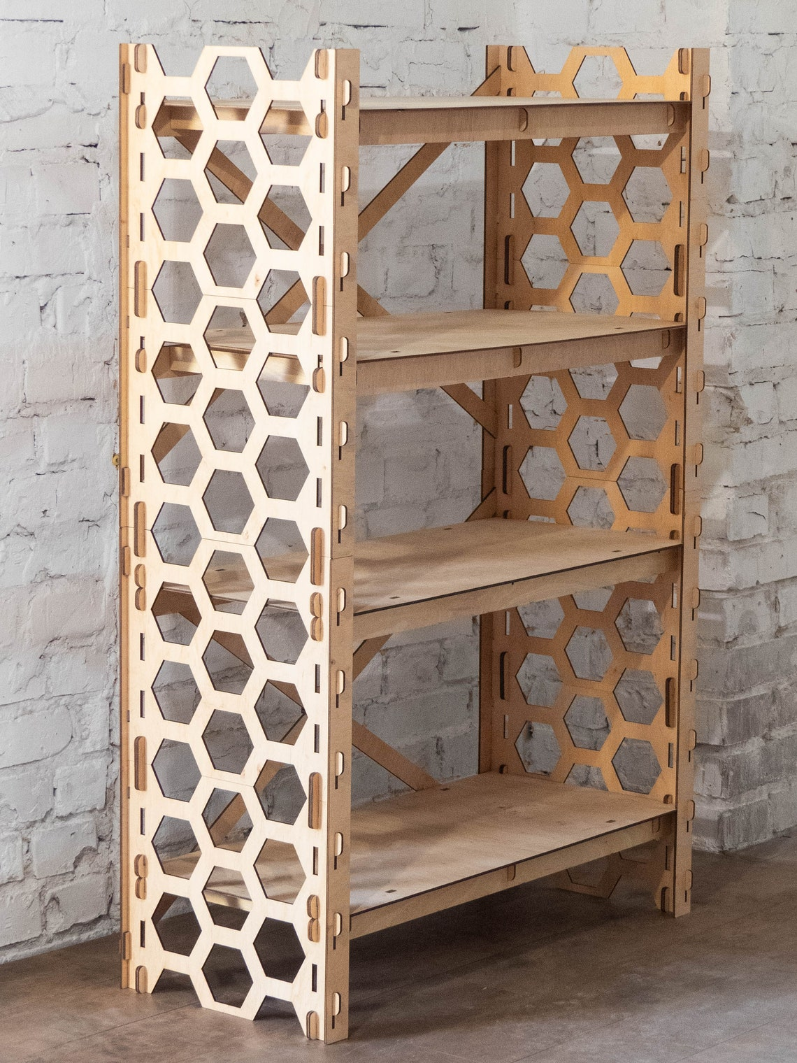 "Bookshelf Toy Storage Bookcase Plant Stand Shelving Unit Wooden Shelves Housewarming Gift Laser Cut ""HONEYCOMB"" (31""w 48""h) Hexagonica"