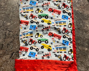 Cars Blanket with Red Minky Backing