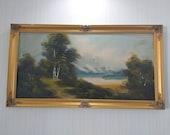 Oil painting landscape plein air Vintage oil painting