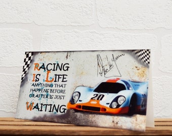 Greeting Cards | Steve McQueen | Birthday Cards | Car Memorabilia | Driver Quotes | Cards | Special Occasions | Motorsport Cards |