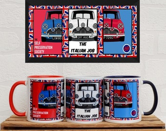 Mugs Italian Job Mini's | Mugs | Birthday Gifts | Gifts | Car Memorabilia | Car Enthusiasts | The Italian Job | Film Mugs | Mini | Car Mugs