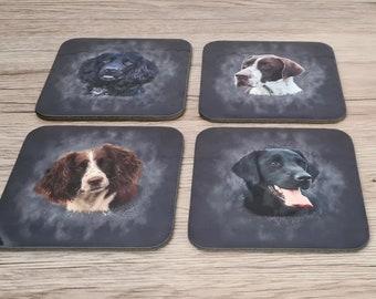 Working Dog Coasters | Coaster | Birthday Gifts | Dinnerware Sets | Table Setting | Labrador | Spaniel | Cocker Spaniel | Pointer | Shooting