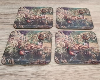 Pheasant Coasters | Coaster | Birthday Gifts | Dinnerware Sets | Table Setting | Game Birds | Shooting | Christmas Gifts | Bird Coasters