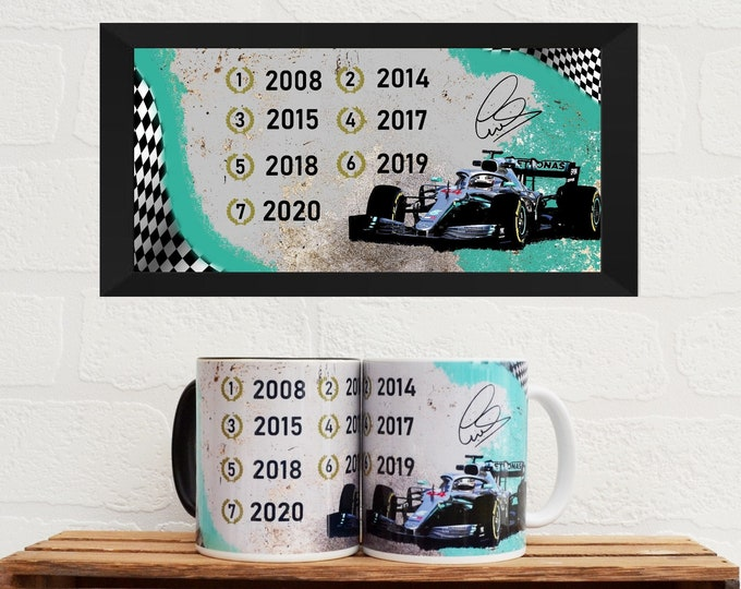 Featured listing image: Mugs Lewis Hamilton 7   Mugs   Birthday Gifts   Gifts   Car Memorabilia   Car Enthusiasts   Motorsport Gifts   F1 Mugs   F1   Car Mugs