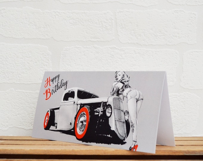 Featured listing image: Hot Rod/Pin Up Card | Cards | Hot Rod Card | Pin Up Card | Car Memorabilia | Car Enthusiasts | Pin Up | Hot Rods | Happy Birthday Cards