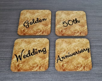 Golden Anniversary Coasters | Coasters | Anniversary Gifts | 50 Years | Dinnerware Sets | Table Setting | Golden | Special Occasions