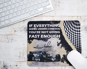 Mousepads Mario Andretti Quote | Birthday Gifts | F1 Gifts | Car Memorabilia | Car Enthusiasts | Motorsport Gifts | Office | F1 | Lotus