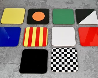 Racing Flags Placemats and Coasters | Placemats | Birthday Gifts | Coasters | Dinnerware Sets | Table Setting | Motorsport | Chequered | F1